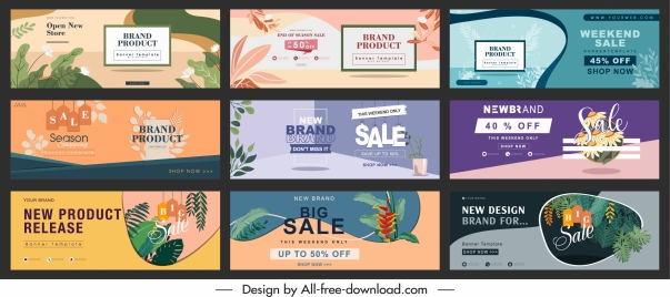sale banner templates colorful classical decor horizontal design