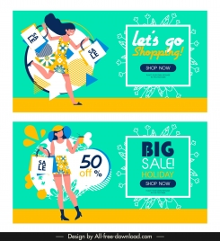 sale banner templates female shopper sketch bright colorful