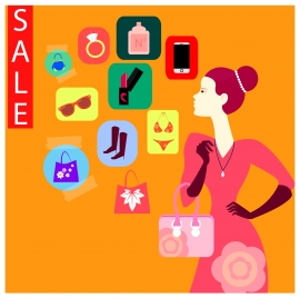 sale banner with shopping icons and woman illustration