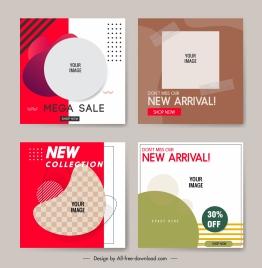 sale flyer templates colored flat geometric decor