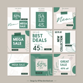 sale flyer templates green white texts leaf decor