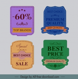 sale label templates colored retro decor elegant design