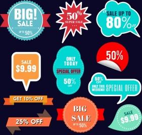 sale labels collection various shapes colorful design