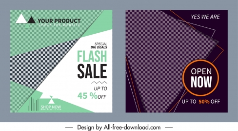 sale leaflet templates modern flat checkered geometry decor