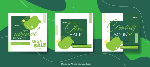 sale leaflet templates modern flat green decor