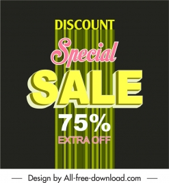 sale poster template contrasted vertical lines texts decor