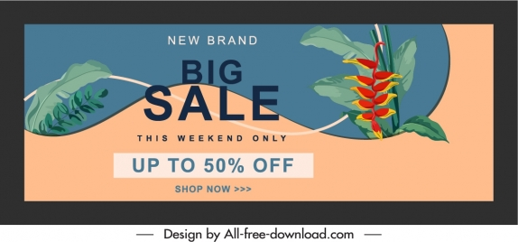 sale poster template retro floral decor horizontal design