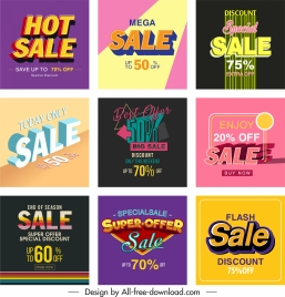 sale poster templates colorful modern texts decor