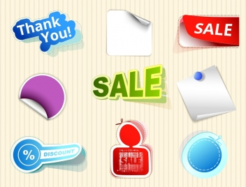 sale sticker collection various 3d colored shapes isolation
