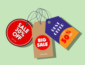 sale tags collection various shapes and colors design