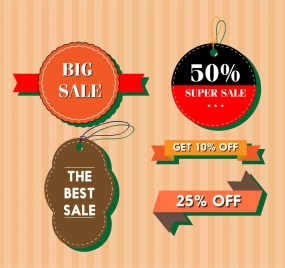 sale tags collection various shapes design in colors