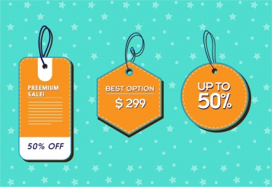 sale tags sets various shapes with leather style