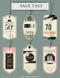 sale tags templates classic flat shapes