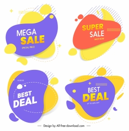 sale tags templates colorful flat deformed shapes