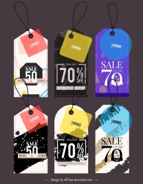 sale tags templates colorful grunge flat geometric decor
