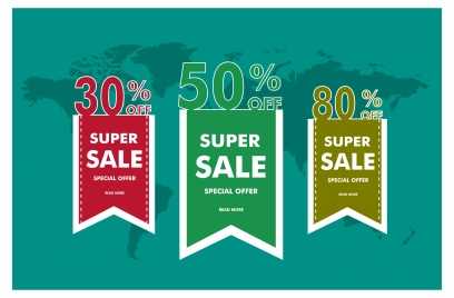 sales banner sets design with vertical percentage style