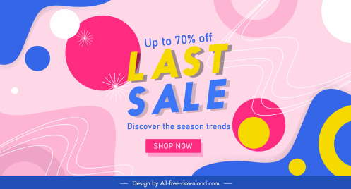 sales banner template colorful flat abstract geometric decor