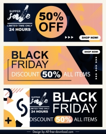 sales banner templates abstract dark flat decor