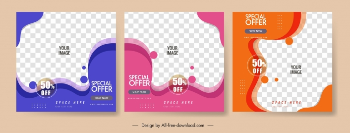 sales banner templates abstract squares deformed shapes