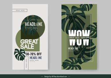 sales banner templates classic dark leaves decor