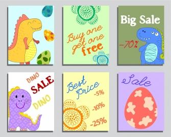 sales banner templates dinosaur egg flowers icons decor