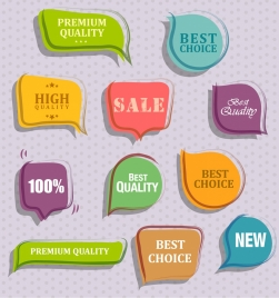 sales label collection multicolored flat shapes isolation