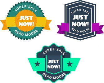 sales labels collection various colorful ribbon design style
