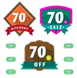 sales labels illustration with number and percentage