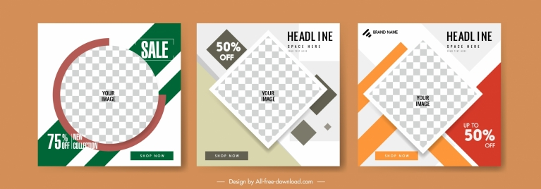 sales posters templates modern checkered geometry decor