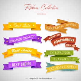 sales ribbon templates collection modern colored 3d sketch