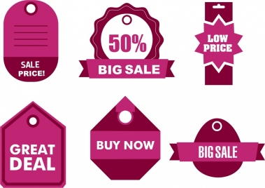 sales tags collection various pink shapes design