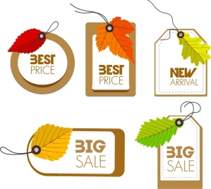 sales tags collection various shapes with leaves design