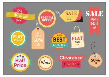 sales tags isolated with various colored shapes