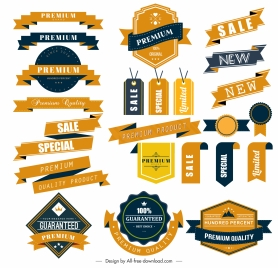 sales tags stamps templates colored elegant shapes