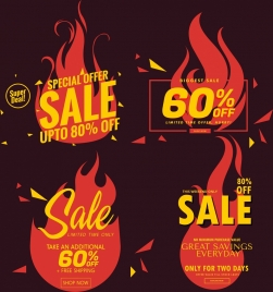 sales tags templates red fire icon texts decor