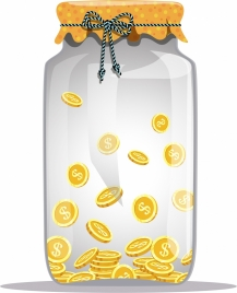 savings concept background glass jar golden coins icons