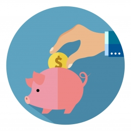 savings concept illustration with coin and piggy
