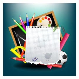 School background with school supplies and empty paper