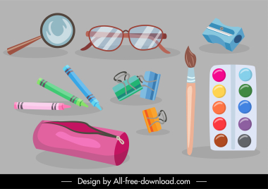 school supplies icons objects sketch colorful design