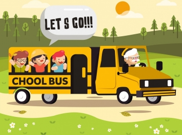 school time background bus children icons cartoon design