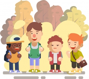 schoolboy background colored cartoon characters