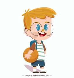 schoolboy icon cute cartoon character sketch