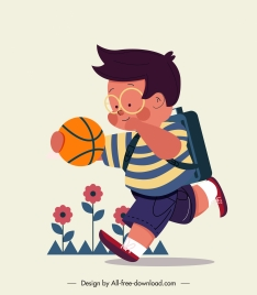 schoolboy icon playful sketch cartoon character