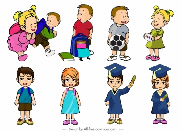 schoolchildren icons colored cartoon characters