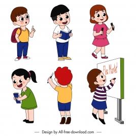 schoolchildren icons cute cartoon character sketch