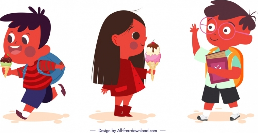 schoolchildren icons cute cartoon characters sketch
