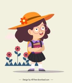 schoolgirl icon cute cartoon character sketch