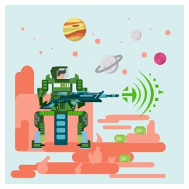 science fiction banner design with robot shooting stars