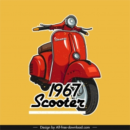 scooter advertising poster vespa sketch classical design