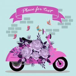 scooter advertising roses butterflies decoration pink design
